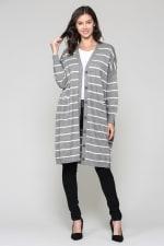 Shayla Cardigan - Gray / White stripes - Front