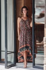 Thin Strap Maxi Dress - Brown - Front
