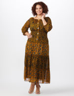 Leopard Floral Peasant Dress - Plus - Mustard - Front