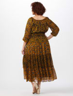 Leopard Floral Peasant Dress - Plus - Mustard - Back
