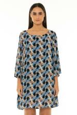 7/8 Sleeve Short Dress Escher Dark Blue - Escher Dark Blue - Front