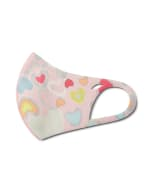 Kids' Candy Hearts Anti-Bacterial Fashion Face Mask - Pink Multi - Detail