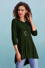 Asymmetrical Tunic Top - Olive - Front