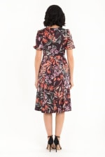 Floral Lisa Dress - Burgundy - Back