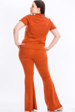 Tie Top And Split Bell Pant Lounge Set - Rust - Back