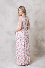 Effortless Maternity Maxi Dress - Ivory / Pink - Back