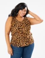 Animal Mesh Tier Knit Top - Plus - Brown - Front