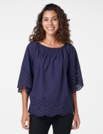 Embroidered Off The Shoulder Woven Top - Navy - Front