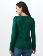 Jacquard Knit Top - Forest - Back