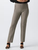 Pull On Novelty Jacquard Pant with Zipper Pockets - Black/white/brown - Front