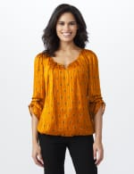 Roz & Ali Diamond Bubble Hem Blouse - Misses - Mustard - Front