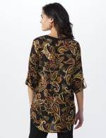 Paisley Solid Trim Woven Popover - Tan Combo - Back