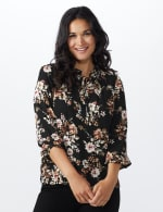 Floral Tie Neck Blouse - Black/Taupe - Front