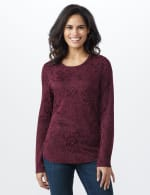 Jacquard Knit Top - Merlot - Front