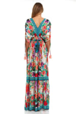 Floral Boho Peasant Dress - Multi - Back