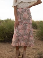 4 Tier Elastic Waistband Skirt - Blush/Taupe/Black - Front