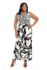 V-Neck Large Floral Maxi Sundress - Black/white - Front