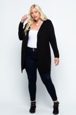 Fine Knit Open Front Draped Cardigan - Plus - Black - Front