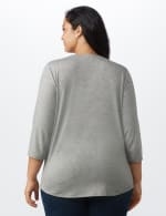 LOVE Matters Tie Front Knit Screen Tee - Heather Grey - Back
