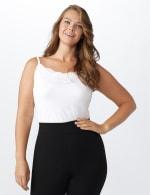 Lace Trim Rayon Spandex Cami - White - Front