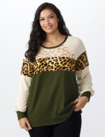 Olive Animal Mix Media Knit Top - Plus - Olive - Front