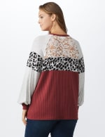 Marsala Animal Mix Media Knit Top - Plus - Marsala - Back