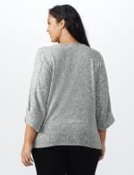 Button Shoulder V-Neck Hacci Top - Plus - Black - Back