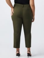 Plus- Pull On Ankle Length Pants With Zipper And Metal Tab - Grape Leaf - Back