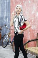 Lace Up Stripe Knit Top - Black/White - Front