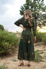 Embroidered Texture Peasant Dress - Olive - Back