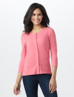 Roz & Ali Pointelle Button-Up Cardigan - Misses - Pink - Front