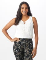 Roz & Ali Crochet Trim Crepe Hi/Lo Knit Top - Sugar Swizzle - Front