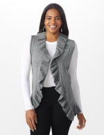 Roz & Ali Ruffle Sweater Vest - Misses - Heather Grey - Front