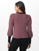 Roz & Ali Novelty Sleeve Stripe Pullover Sweater - Black/Red/White - Back