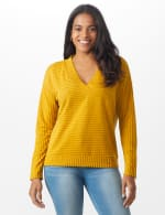 Ribbed Hacci Sweater Knit Top - Amber - Front