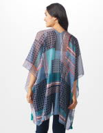 Floral Geo Printed Kimono - NAVY - Back