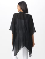 Chambray Embroidered Floral Kimono - Black - Back