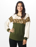 Olive Animal Mix Media Knit Top - Misses - Olive - Front