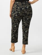 Plus  Roz & Ali Printed Superstretch Pull On Ankle Pant With Slits - Black/Grey - Back