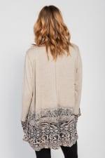 Border Print Open Knit Cardigan - Misses - Brown - Back