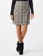 Plaid A Line Skirt with Patch Pockets - Black/masala - Front