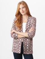 Printed Scuba Crepe Open Front Jacket - Cold Brew - Front