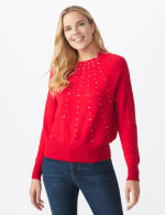 Roz & Ali Cascading Jewels Pullover Sweater - Red - Front