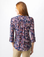 Roz & Ali Small Floral Pintuck Knit Popover - Misses - Navy/Pink - Back