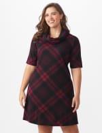 Plaid Cowl Neck Dress - Plus - Black/wine - Front