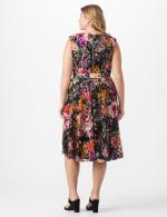 Wrap Rose Lace Dress - Plus - Black/coral - Back