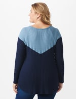 Denim Friendly Color Block Thermal Knit Top - Plus - Navy - Back