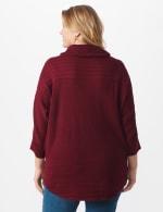 Westport Drape Neck Curved Hem Sweater - Plus - Bordeaux - Back