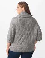 Westport Cable Poncho Sweater - Plus - Felt Grey Heather - Back