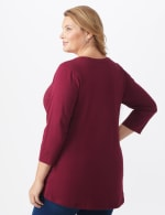 DB Sunday V Neck Stud Knit Top - Plus - Burgundy - Back